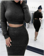 Dress Set Women's Bodycon Slim Casual Bandage Sweaters Work Crop Tops and Skirt
