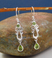 Peridot Gemstone Drop Earring Solid 925 Sterling Silver jewelry ME3486