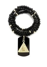 """NEW EGYPTIAN KING TUT IN THE PYRAMID PENDANT & 30"""" WOODEN BEAD NECKLACE"""