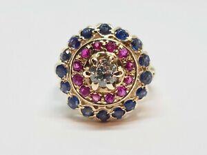 Bague ancienne en Or jaune 14 carats sertie Diamant Saphirs Rubis 6.24 grammes
