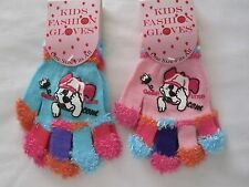 BNWT  -2 prs  FASHION GLOVES WITH DOG FACE  - ONE SIZE FITS ALL  PINK/BLUE