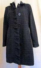 Old Navy Ruffle Placket Blue Black Plaid wool blend coat M *FREE SHIPPING* Nice