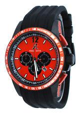 Adee Kaye AK7141-MIPB Men's Orange Dial Black IP PU Strap Chronograph Watch