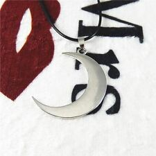 1pcs Silver Alloy Crescent Half Moon Pendant Necklace Long Sweater Chain Jewelry
