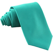 New Polyester Men's Neck Tie only solid formal wedding prom party aqua blue