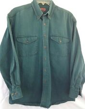 Mens Adventure Hunting Hiking Camping Cotton Green Shirt Sz M Wild River Outfit