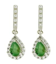 Genuine Emerald With CZ Gemstone 925 Sterling Silver Earring For Womens SHER0211