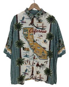 Men's Reyn Spooner California Print All Over Rayon Hawaiian Shirt XL