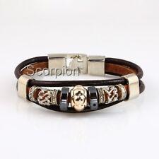 Leather Bracelet Tibetan Silver Triple Strand Surfer Identity Quality  B110