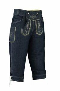Trachten Jeans Herren Trachtenlederhose in Jeans Optik Inkl Träger LETJ