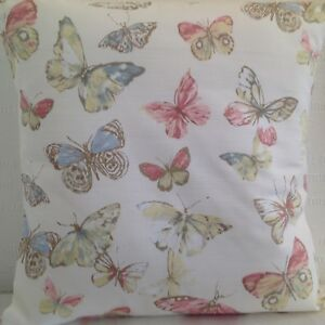 CUSHION COVERS BRAIRFIELD  BLOSSOM BUTTERFLY BUTTERFLIES COTTON LINEN FABRIC