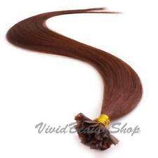 100 Pre Glue Bonded U Tip Keratin Straight Remy Human Hair Extensions Auburn #33