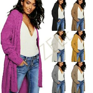 LADIES OVERSIZED BAGGY CHUNKY CABLE KNITTED POCKET LONG CAPE CARDIGAN UK 8-22