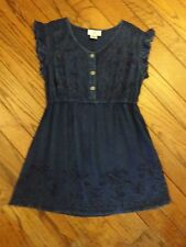 NWOT OSO Casuals Blue Embroidered Blouse      Size Small