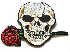 Aufnäher Patch Totenkopf Skull Schädel mit Rose 9 x 10 cm NEU
