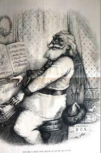 Santa Claus Playing Piano 1886 THOMAS NAST CHRISTMAS JOLLY GOOD FELLOW Lg Print