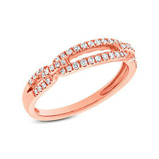 0.23CT 14K Rose Gold Natural Round Cut Real Diamond Split Band Open Fashion Ring