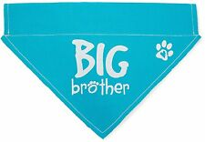 """Big Brother Dog Bandana Blue Slip On Over Collar Canvas 12""""x8"""" Baby Announcement"""