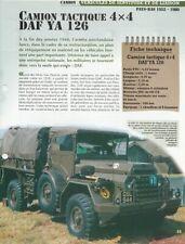 CAMION TACTIQUE 4X4 DAF YA 126 PAYS-BAS 1952-1980 - FICHE VÉHICULE MILITAIRE
