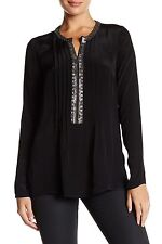 NEW Plenty by Tracy Reese Embellished Kurta Long Sleeve Tunic- Black size S $188