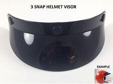 3 Snap Helmet Visor Sun Shield Vintage Motocross Motorcycle Fits Open Face 3/4
