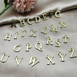 26Pcs A-Z English Letters Alphabet Pendant Initial Charm Necklace Jewelry Making
