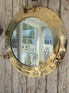 "20"" Brass Porthole Mirror /Nautical Wall Décor / Large Working Ship Cabin Window"