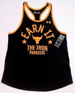 Men's Under Armour Project Rock Earn It Iron Paradise Tank Black Medium 1353922