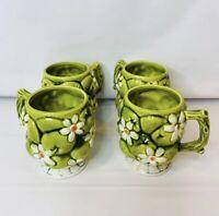 Vintage Set Lot Of 4  Inarco 1967 Creme De Menthe Coffee Tea Mugs Daisy Apples