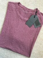 """ALL SAINTS ROSE RED """"TERANIC"""" STRIPED S/S CREW T-SHIRT TOP - S & L - NEW & TAGS"""