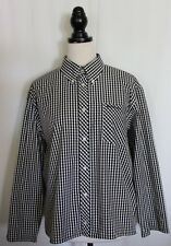 BEN SHERMAN ~ Black & White Gingham Check Button Front Cotton Unisex Shirt XL
