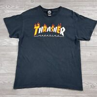 2000s Thrasher Skateboard Magazine Flame Logo T Shirt Large Black Tee HA3