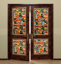 Bloss Non-adhesive Static Cling Window Shades Privacy Stained Glass Vinyl Window