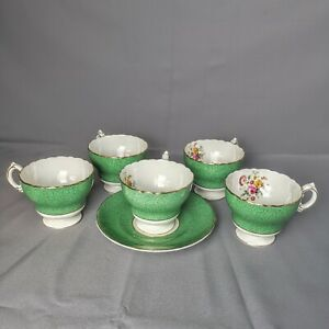 Cauldon Bone China Green Band Pink Floral Gold Trim 5 Footed Cups 1 Saucer 1920s