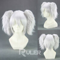 Short Silver Soul Silvery white Anime Cosplay Party Wig Hair+2Clip On Ponytail