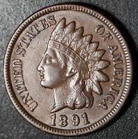 1891 INDIAN HEAD CENT - XF EF -With REPUNCHED DATE *SNOW-3* 3 STAR VARIETY! RPD