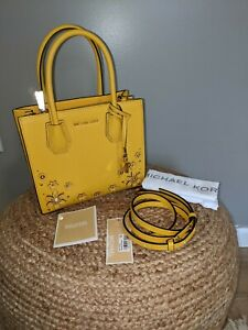 Michael Kors $278 Mercer Medium Messenger Crossbody Tote Yellow/Gold