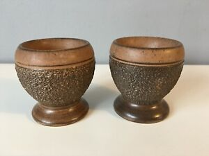 2 x Brown Pottery Textured Egg Cups