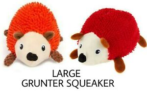 TOP PAW RED SQUEAKY HEDGEHOG - (1) LARGE Plush DOG Chew Toy - GRUNTER SQUEAKER