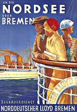 Art Ad Norddeutscher Lloyd Bremen Nordsee Ship Cruise Travel  Deco  Poster Print