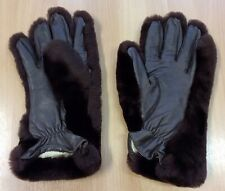 Vintage Fake Fur And Leather Gloves S-M
