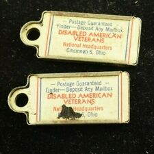 1949 Disabled American Veterans Pair Key Chains Tags License Plate DAV OH K99