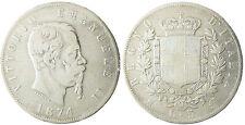 ITALIE  , VICTOR  EMMANUEL II  ,  5  LIRE  ARGENT  ,  1874  M    MILAN