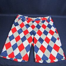 Loud Mouth Size 36 Mens Golf Shorts  Argyle Dixie-s Red White Blue Grey