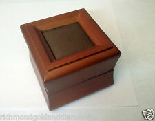 Amber Wood and Brown Leather Ring Box Fashion ENGAGEMENT Ring Gift High Quality