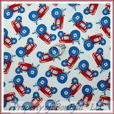 BonEful Fabric FQ Cotton Quilt Boy White Red Blue America Patriotic Farm Tractor