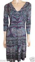 New Per Una M&S Blue Jersey V Neck Shift Dress Size 8 - 20  3/4 Sleeve