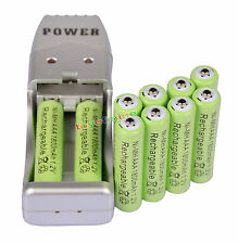 10X AAA 3A 1800mah1.2V NiMH rechargeable battery Green+USB Charger
