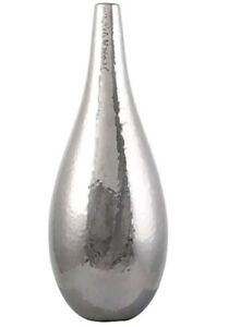 SILVER CERAMIC LONG NECK VASE.