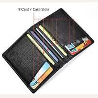 Black Slim Soft Men's Wallet Genuine Leather Mini Credit ID Card Holders